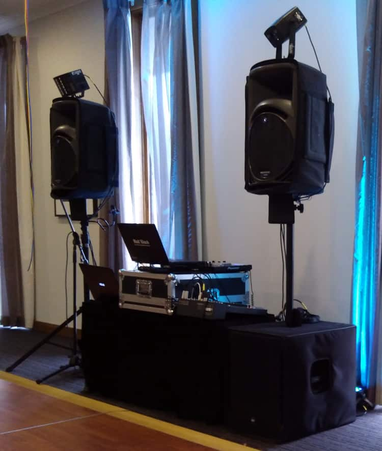wedding DJ Melbourne corporate events setup equipment audiovisual sound and lighting