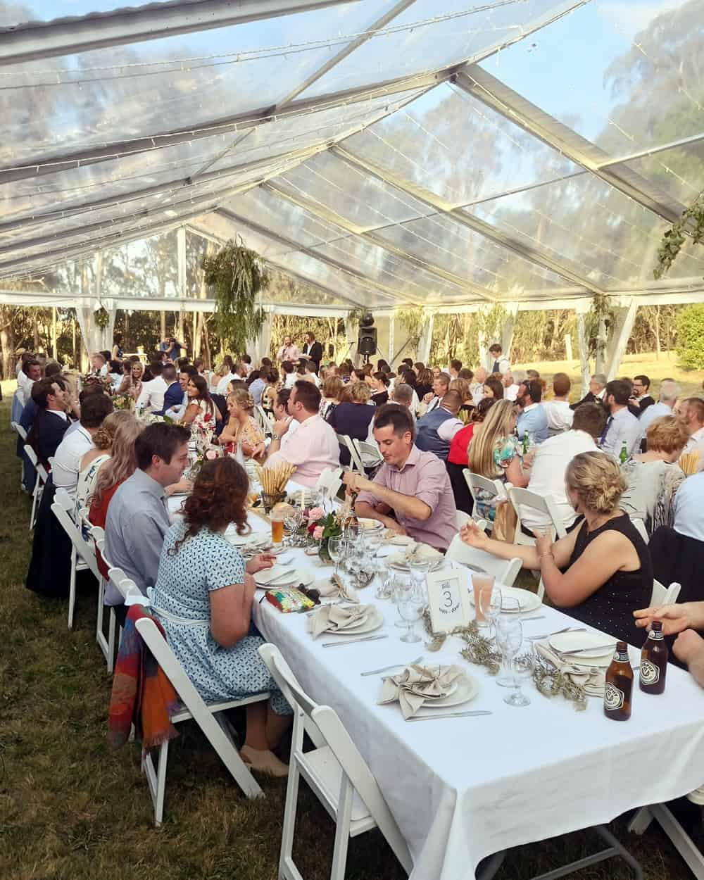 backyard wedding marquee hire reception sitdown catering
