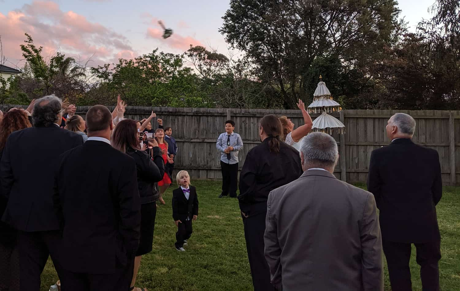 backyard wedding melbourne bouquet throw reception home
