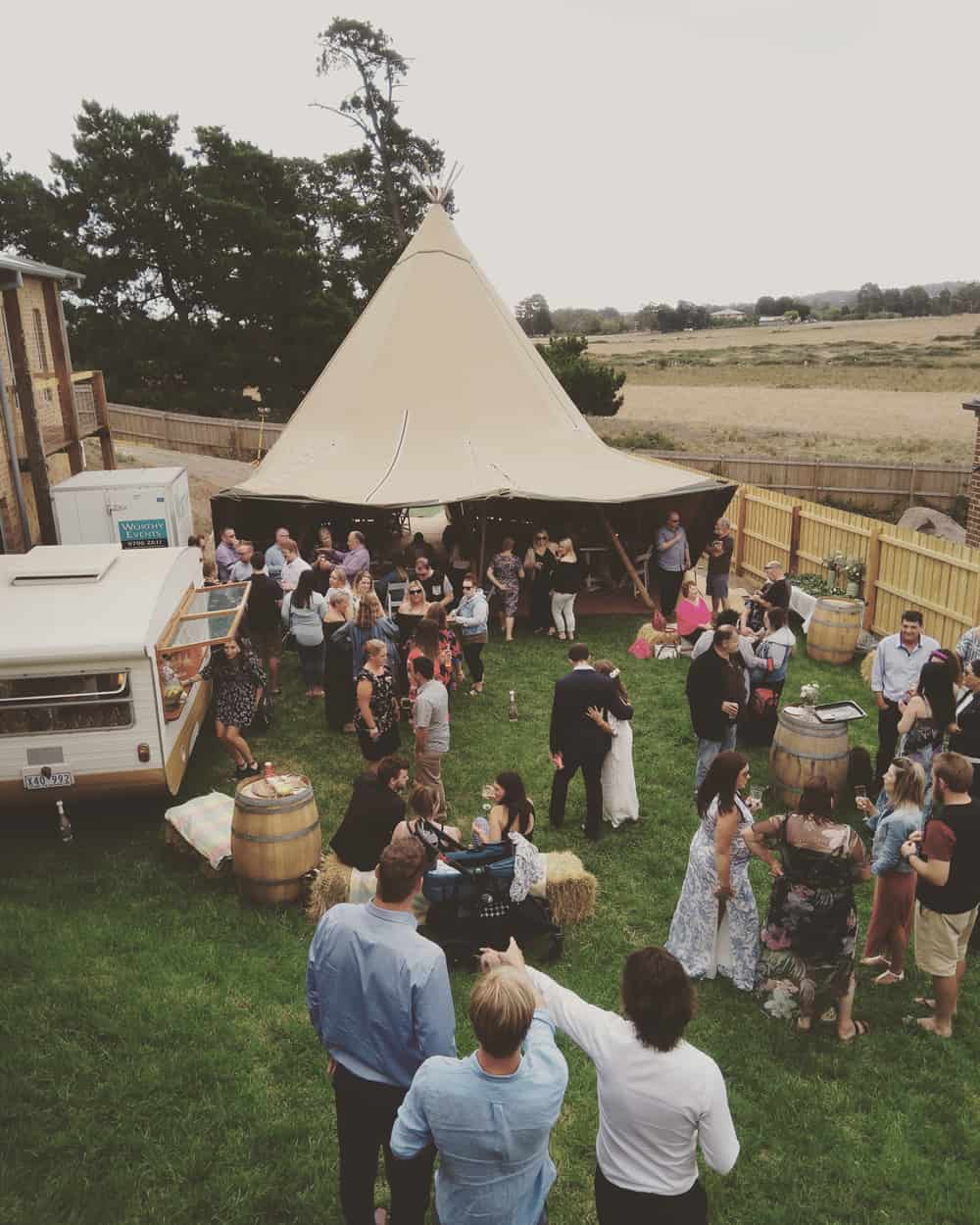 backyard wedding melbourne tipi hire tepee marquee caravan bar