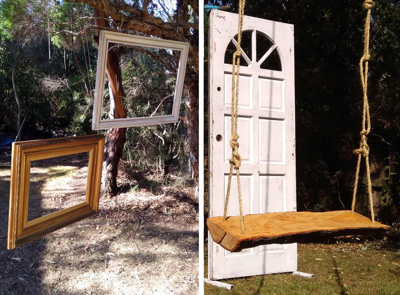diy wedding ceremony props door and swing seat reuse secondhand budget