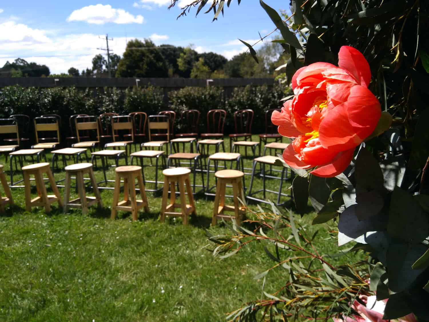 diy wedding the estate trentham victoria ceremony chairs and stools
